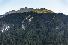 Green mountain with little snow on the top sunlight in the morning at Lachen in North Sikkim, India Stock Images