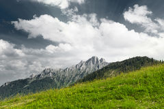 Green mountain meadow with mountain peak Stock Images