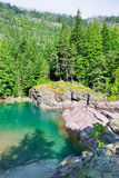 Green mountain pond in Glacier National Park Stock Images