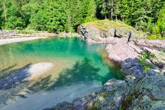 Green mountain pond in Glacier National Park Royalty Free Stock Photo