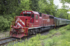 Green Mountain Railroad. The Green Mountain Railroad is a tourist train that operates in White River Junction, Burlington, and Bellows Falls Vermont Stock Image