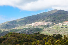 Green mountain and Savoca village in Sicily Royalty Free Stock Image