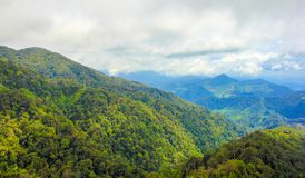 From green mountain top. Panoramic view from mountain top in tropical country stock photos