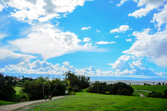 Green Mountain Under Cloudy Sky. In the Spring Royalty Free Stock Photo