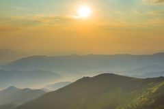 Green mountain valley at the sunrise Royalty Free Stock Photography