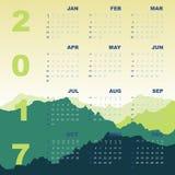 Green mountain view of 2017 calendar. Stock vector Royalty Free Stock Image
