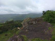 Green Mountain View in Panchgani. During rainy season Asia Maharashtra Stock Photo