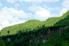 Green Mountain White Cloud. China's Guizhou Green Mountain White Cloud blue syk Stock Photo
