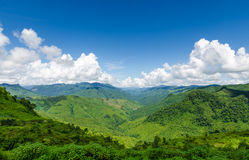 Green Mountains And Blue Sky With Clouds Royalty Free Stock Photos