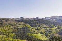 Green mountains of Biscay, Basque country, Spain. Photo taken from the town of Galdames, in a sunny day on spring Royalty Free Stock Photos