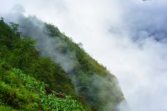 Green mountains cliff and low white clouds stock photography