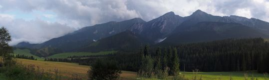 Green mountains and rocks panorama Royalty Free Stock Photo