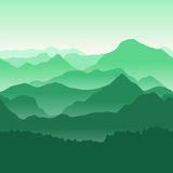 Green mountains in the fog. Seamless background. Stock Photo