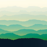Green mountains in the fog. Seamless background. Royalty Free Stock Images