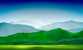 Green Mountains Hills And Meadows Landscape. Abstract Nature Background, Mountain Landscape. Vector Colorful Background Stock Images