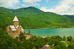 Green mountains with monastery Stock Photo