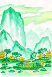 Green mountains, painting. Hand painted picture - landscape with mountains in turguoise (motton blue) colours, watercolours, in traditions of old Chinese Royalty Free Stock Photography