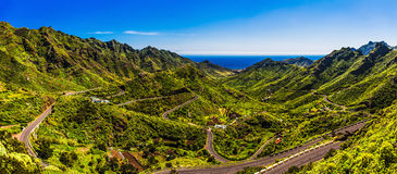 Green mountains with road panorama Stock Image