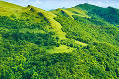 Green mountains sunny background. Carpathians, Poland. Royalty Free Stock Photography