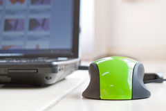A green mouse with laptop Stock Photography