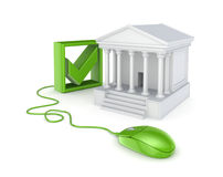 Green mouse, tick mark and court. Stock Photo