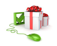Green mouse, tick mark and gift boxes. On white background.3d rendered Stock Photography