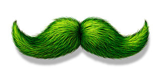 Green Moustache. Or mustache on a white background with a shadow as a symbol for spring and nature or saint patricks day celebration or a vegetarian design Stock Photography