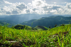 Green moutain with blue sky. And white cloud Stock Images