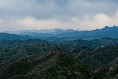 Green moutain under great wall Stock Photo