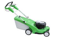 Green mowing-machine. Separately on a white background royalty free stock images