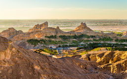 Green Mubazzarah resort as seen from Jabel Hafeet mountains Royalty Free Stock Images