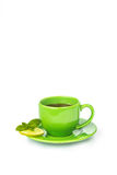 Green mug with lemon and mint Stock Images