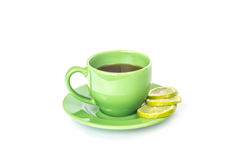 Green mug with lemon Stock Photo