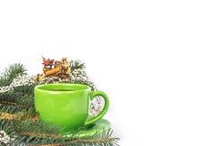 Green mug of tea Stock Photos