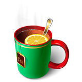 Green mug of tea. Mug with tea and lemon. A spoon. Tea bag Royalty Free Stock Photo