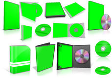 Green multimedia disks and boxes on white Stock Image