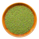Green mung bean in wooden bowl Royalty Free Stock Image