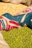 Green mung beans in canvas sack Royalty Free Stock Image