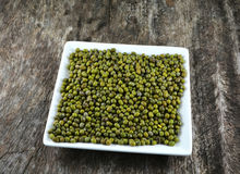 Green mung beans in dish Stock Photo