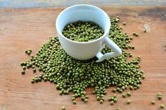 Green mung beans Glass Stock Photo