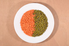 Green mung beans and red raw lentil on white plate Royalty Free Stock Photography