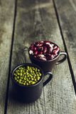 Green Mung Beans and Red Speckled Kidney Beans Stock Photography