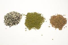 Green mung beans, split black peas and pigeon pea. stock photos