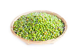 Green mung beans in weave basket Stock Images