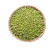 Green mung beans in weave basket. Royalty Free Stock Images