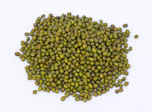 Green mung beans. On the white backgorund Royalty Free Stock Photos