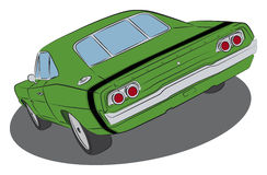 Green muscle car with black stripe Stock Photography
