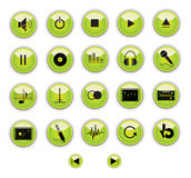 Green music control buttons Royalty Free Stock Photography