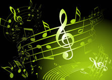 Green music theme. With various notes vector illustration