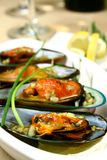 Green Mussels. Close up of green mussels with butter and garlic royalty free stock image